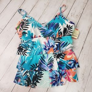 New! St. John's Bay Tropical Print Tiered Ruffle